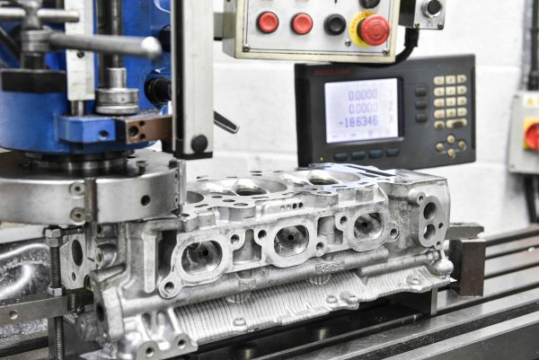 Nissan GT-R cylinderheads on lathe