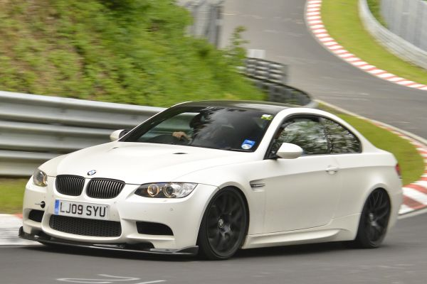 Our BMW M3 development car wrapped in pearl white
